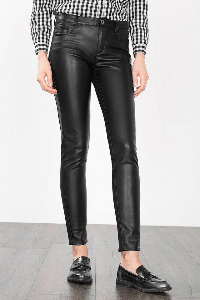 ESPRIT CASUAL Skinny-Hose in Leder-Optik in BLACK