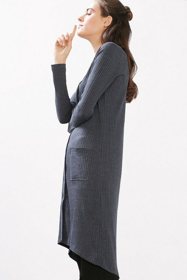 EDC Long Cardigan aus Rip-Jersey in NAVY