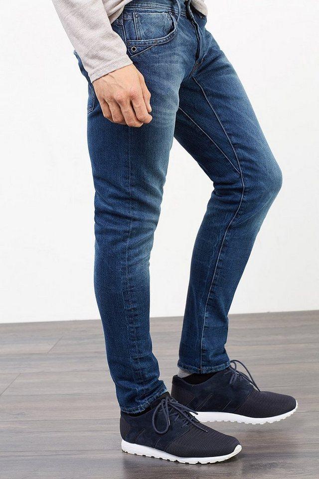 EDC Cool konstruierte Stretch-Jeans in BLUE DARK WASHED