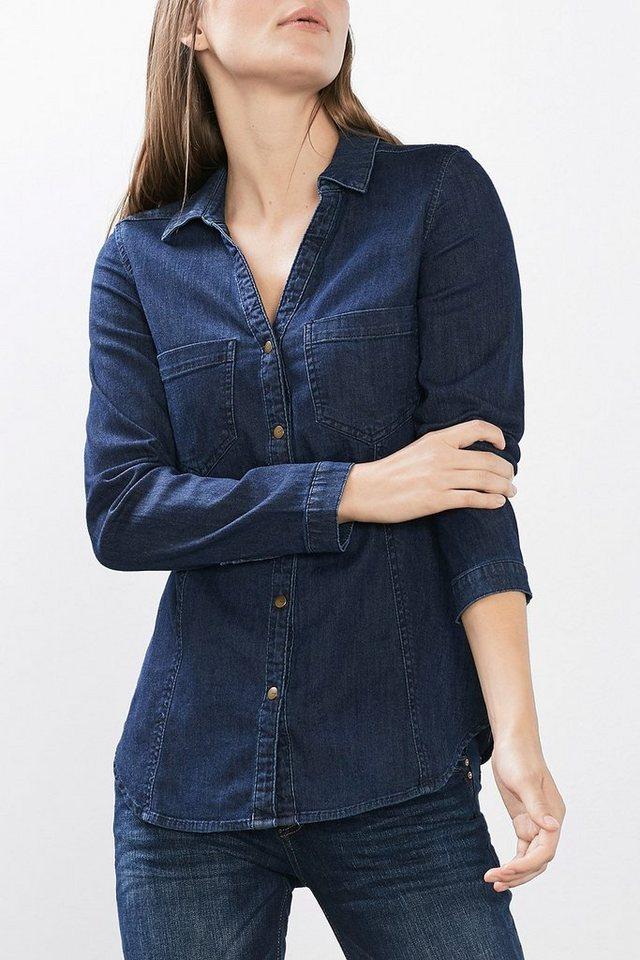 EDC Taillierte Bluse aus Stretch-Denim in BLUE DARK WASHED