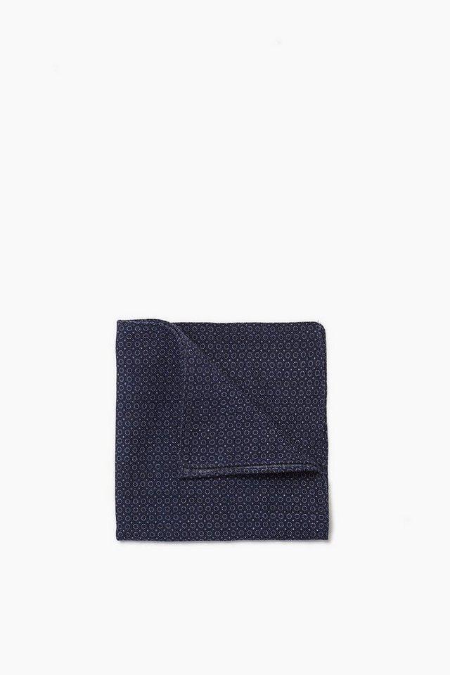 ESPRIT COLLECTION Einstecktuch mit Minimal-Print, 100% Wolle in NAVY