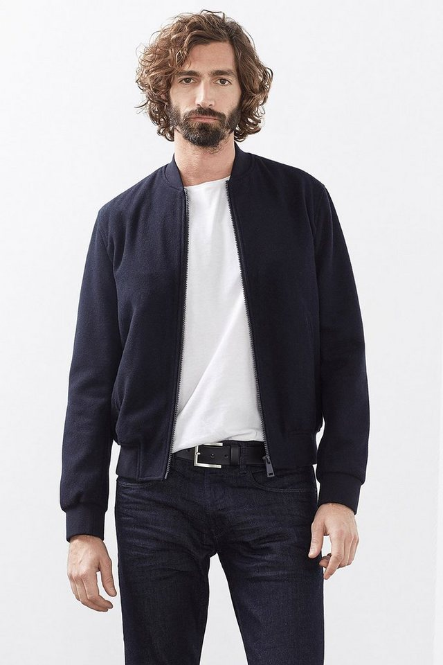 ESPRIT COLLECTION Bomber-Jacke aus Woll-Mix in NAVY