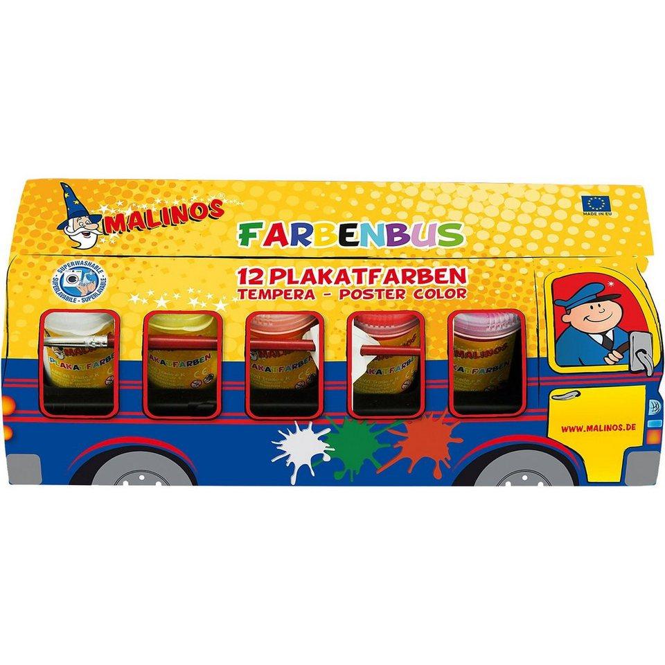 Amewi Farbenbus 12 x 25 ml Plakatfarben inkl. Pinsel & Mischpalett