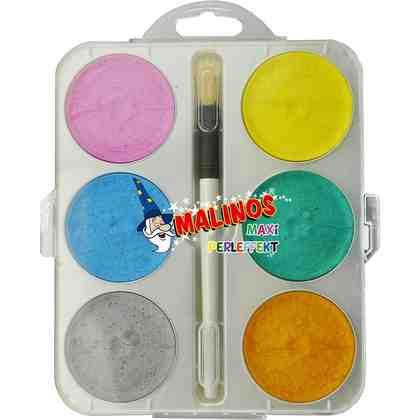 Amewi Malkasten Maxi - 6 Perleffekt Aquarellfarben