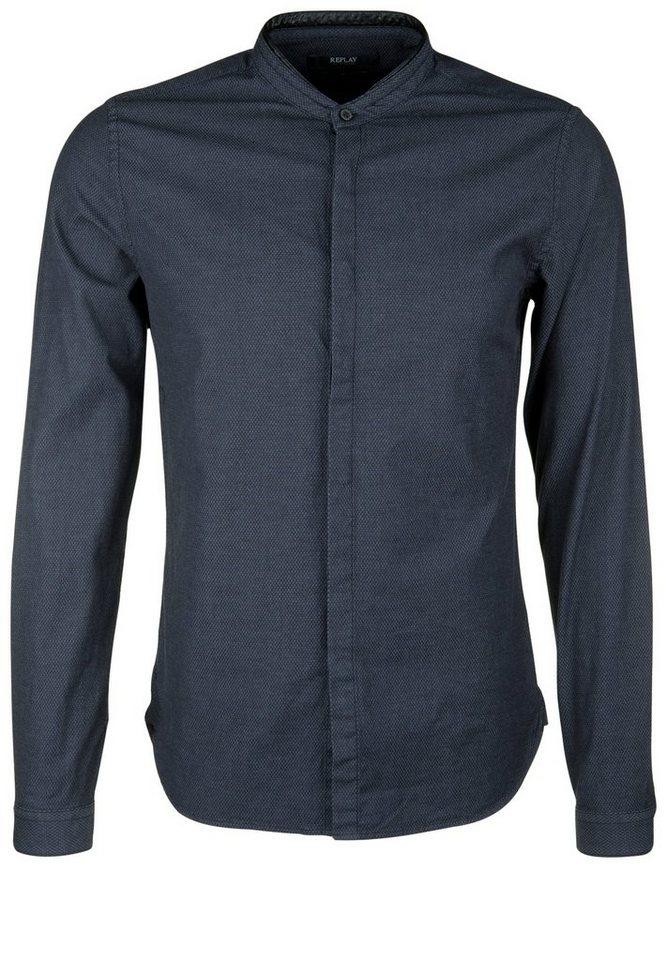 REPLAY Hemd »RAUTENMUSTER« in blue/black