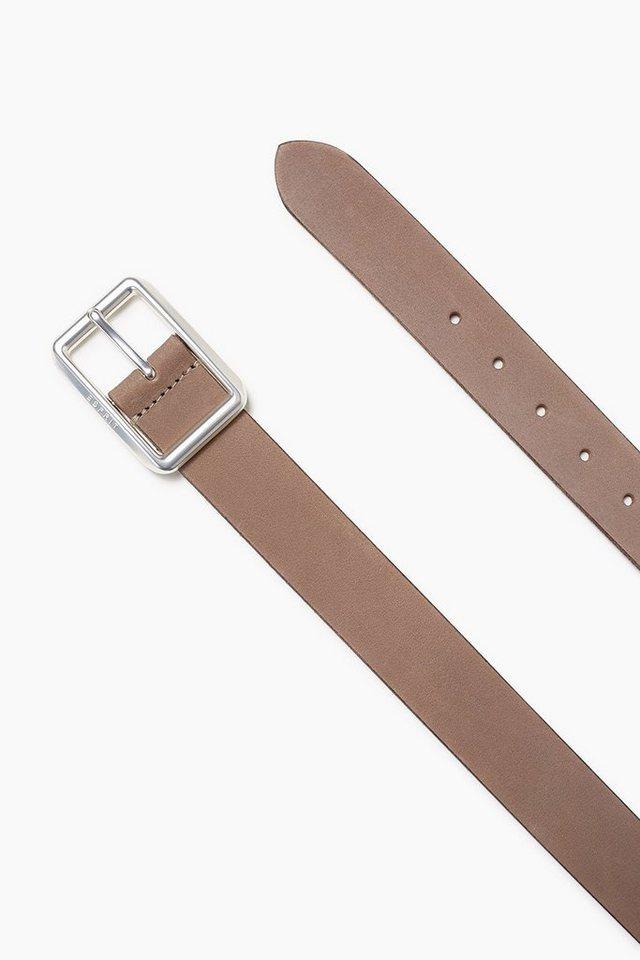 ESPRIT CASUAL Gebrushter Ledergürtel mit Logoschließe in TAUPE