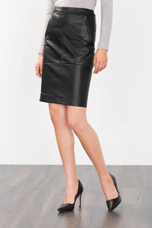 ESPRIT COLLECTION Stiftrock aus butterweichem Leder in BLACK