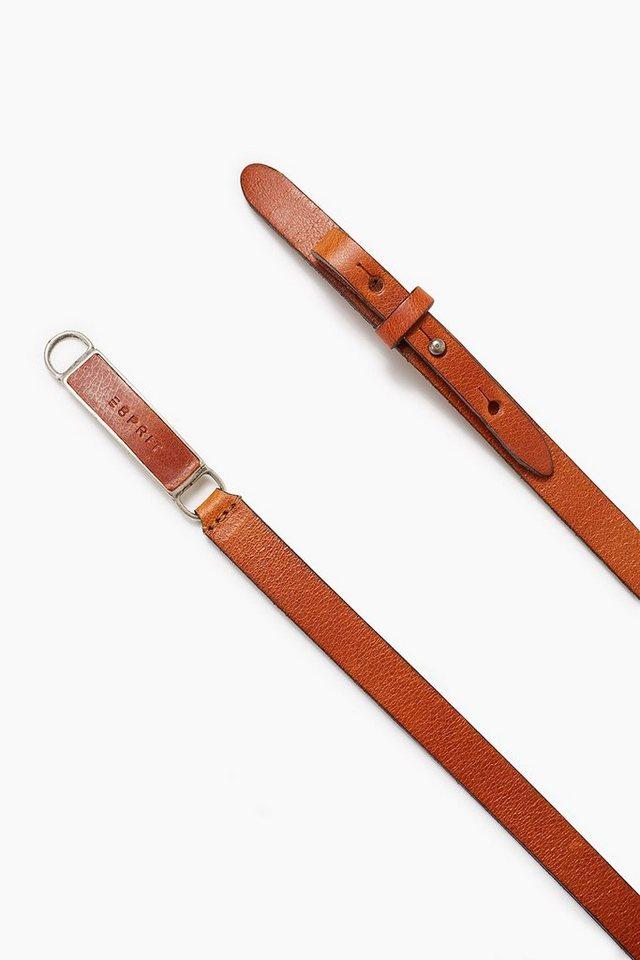 ESPRIT CASUAL Schmaler Ledergürtel mit Logoprägung in BROWN