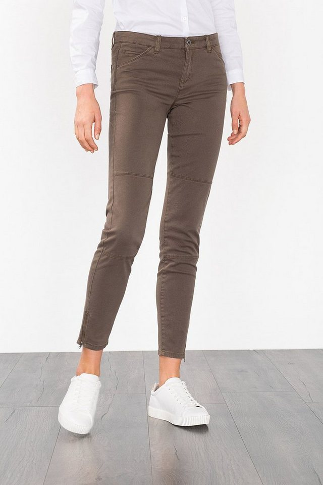 ESPRIT CASUAL Verkürzte Stretch-Hose mit Saumzippern in DARK KHAKI