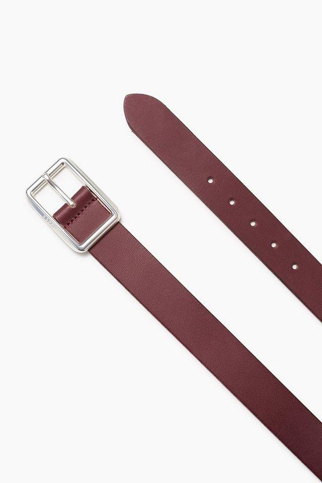 ESPRIT CASUAL Gebrushter Ledergürtel mit Logoschließe in BORDEAUX RED