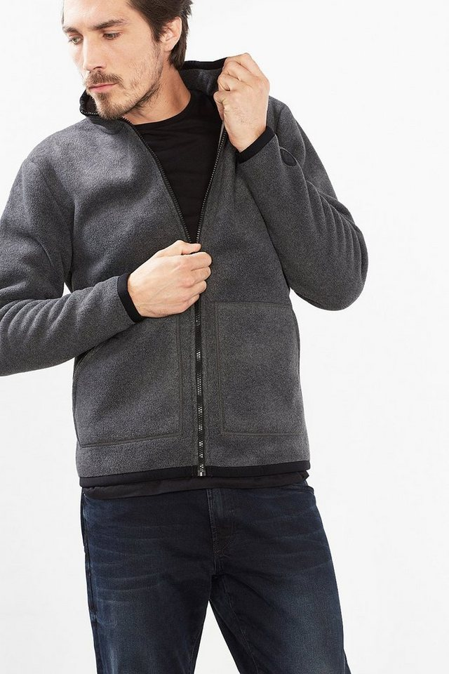 ESPRIT CASUAL Zippjacke aus doppelseitigem Fleece in ANTHRACITE
