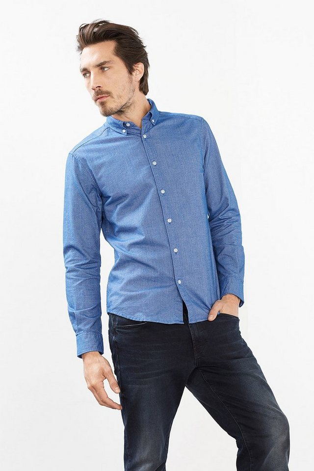 ESPRIT CASUAL 2-Tone Flanell Hemd, 100% Baumwolle in BLUE