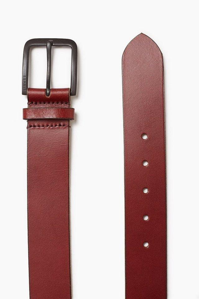 ESPRIT CASUAL Gürtel aus weichem Büffelleder in PLUM RED
