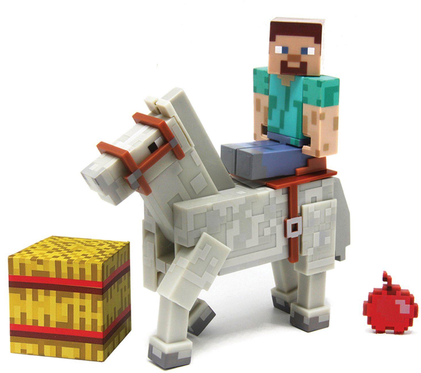 Spielfigur, »Minecraft Serie 2, Steve mit weißem Pferd«