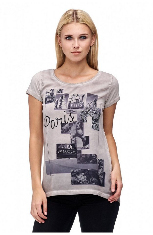 """Decay T-Shirt kurzer Halbarm mit Fotoprint """"Paris"""" und Glitzernieten in grau"""