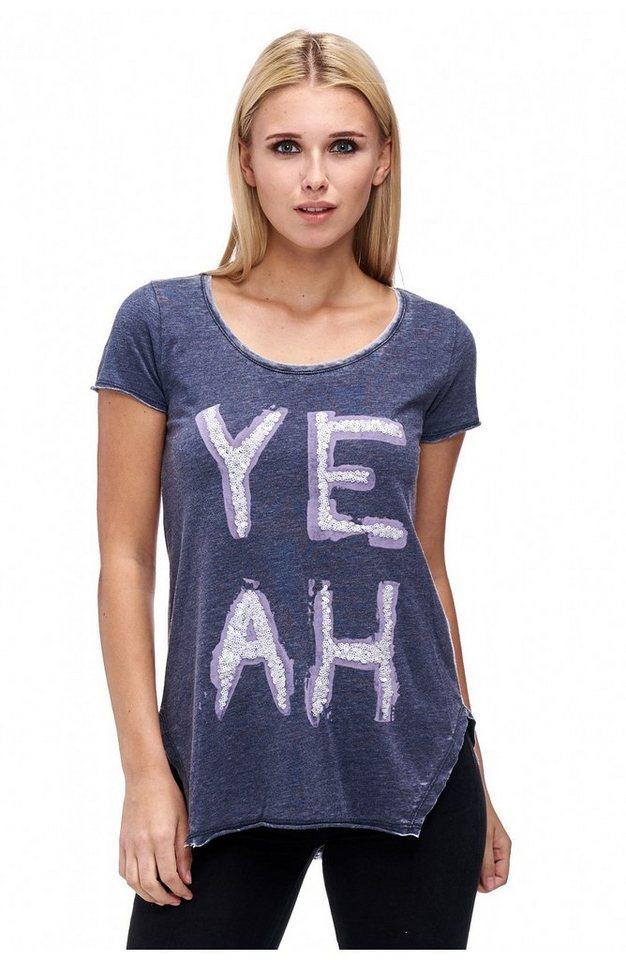 Decay T-Shirt mit tiefem Rundhals und seitlichen Schlitzen und Paillettenschriftzug in blau