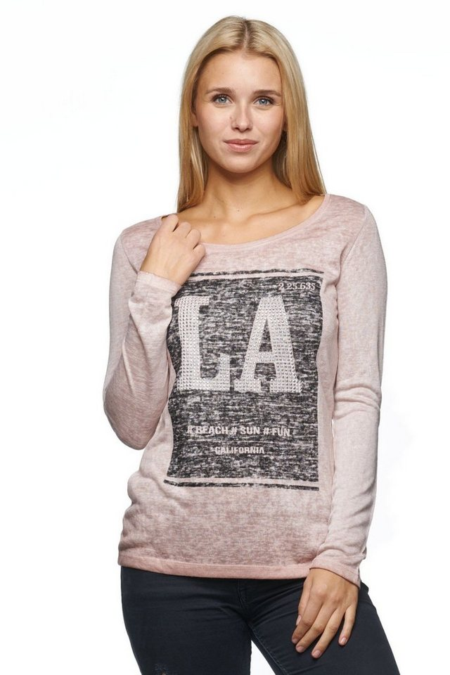 "Decay Langarmshirt in Used Optik mit Frontprint ""LA"" in puder"