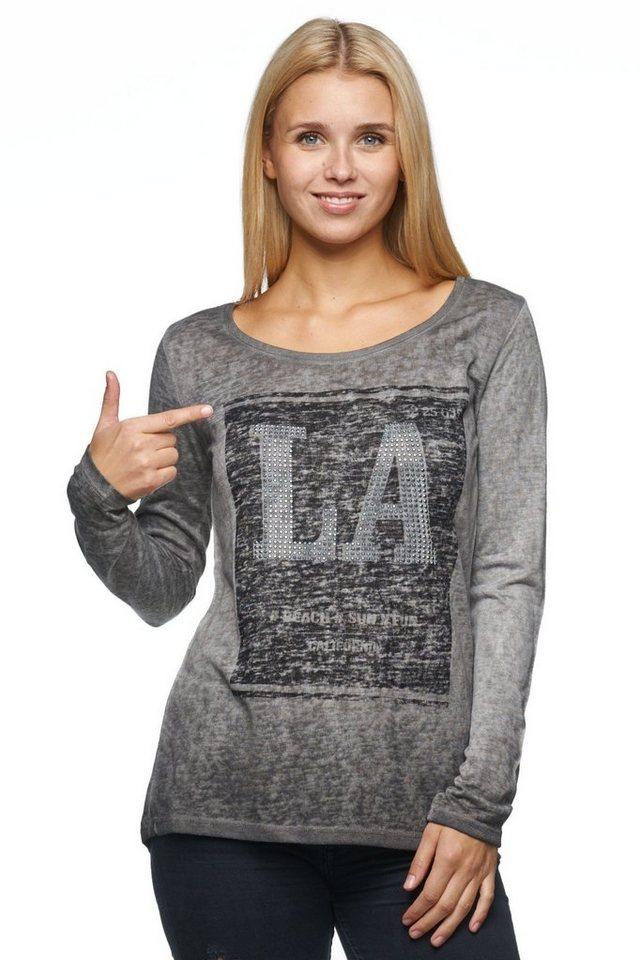 """Decay Langarmshirt in Used Optik mit Frontprint """"LA"""" in grau"""