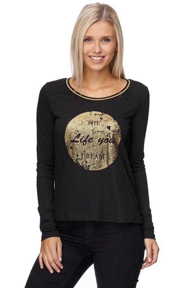 Decay Langarmshirt mit goldfarbenem Print in schwarz
