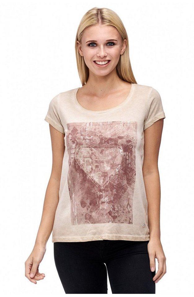 Decay T-Shirt mit Print und Silber Spray in beige