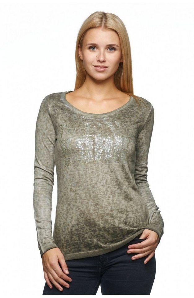 Decay Langarmshirt mit Pailletten und Silberspray Used Optik in olivgrün