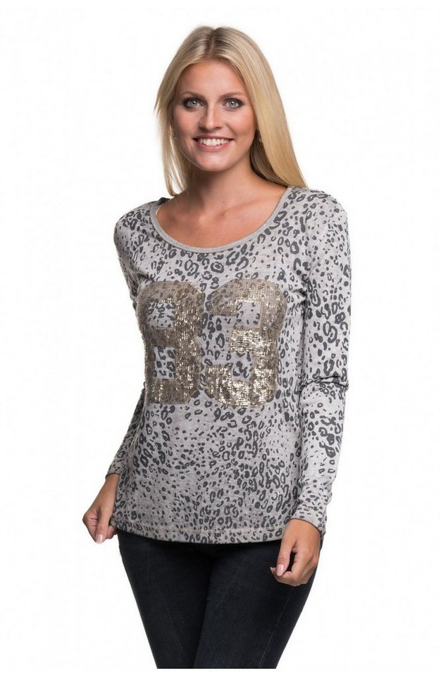 Decay Langarmshirt Leoparden Alloverprint mit Pailletten in grau