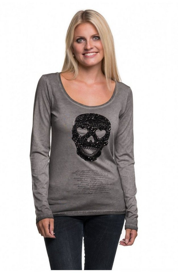 """Decay Langarmshirt mit Paillettenapplikation """"Skull"""" in grau"""
