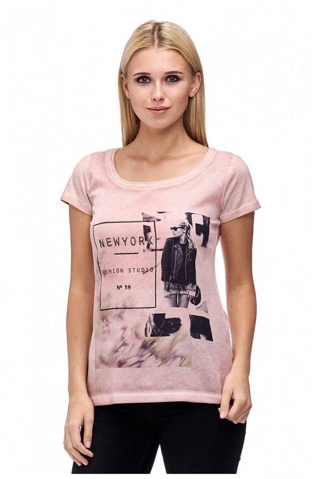 Decay T-Shirt Mix aus Chiffon und Jersey mit Foto-Print in puder