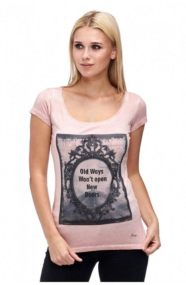 """Decay T-Shirt 1/2 Arm """"Mirror Print"""" mit Strass-Steinen in puder"""