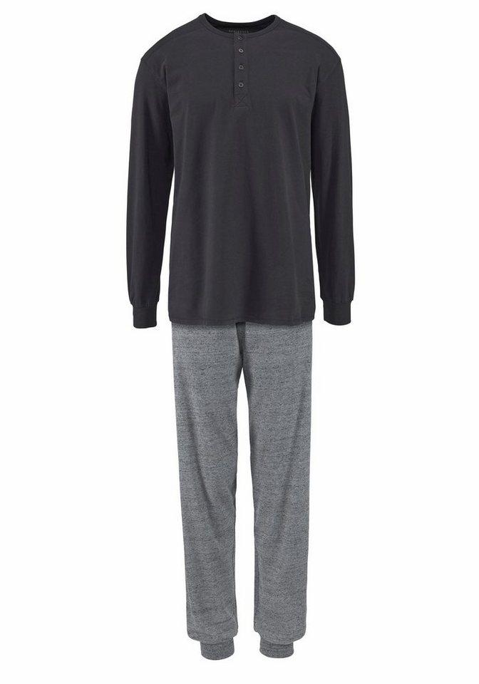 Schiesser langer Pyjama in dunkelgrau