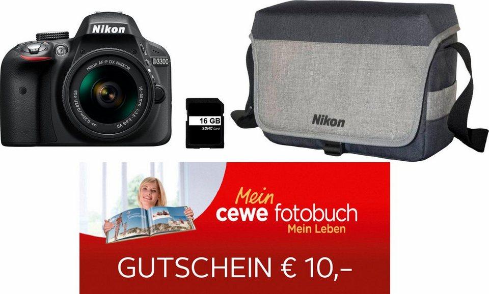 Nikon D3300 Kit Spiegelreflex Kamera, 18-55 mm VR Zoom-Objektiv,Tasche, 16GB SD, 10€ Fotogutschein in schwarz