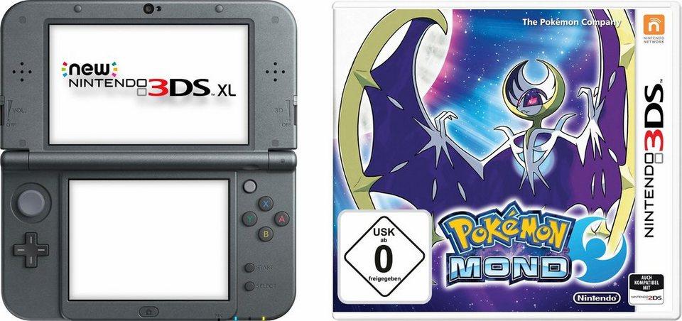 New Nintendo 3DS XL + Pokémon Mond + Figur in schwarz