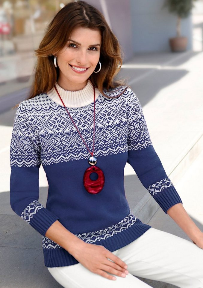 Collection L. Pullover mit aktuellem Norwegermuster in royal-wollweiß