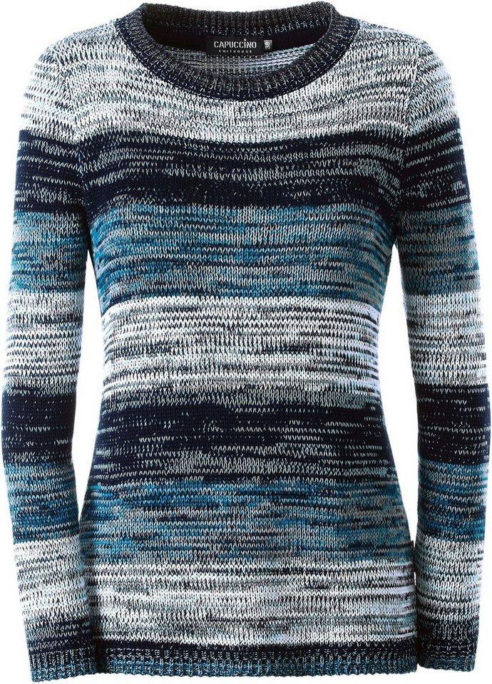 Collection L. Pullover im sportiven Colour Blocking-Desssin in petrol-gemustert