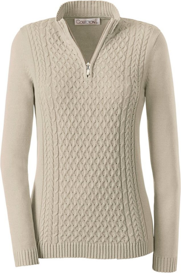 Collection L. Pullover mit attraktivem Zopfmuster in sand