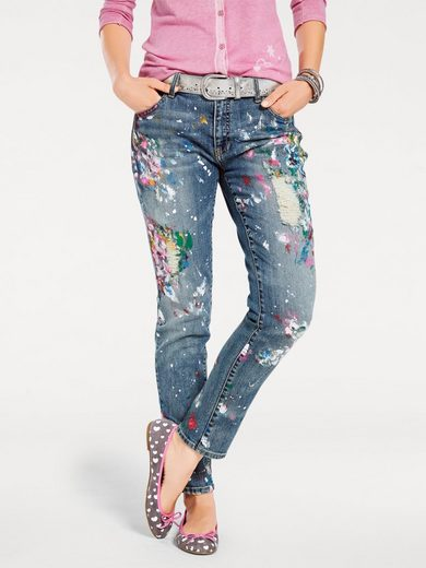 B.C. BEST CONNECTIONS by Heine Boyfriend-Jeans mit trendige farbflecken