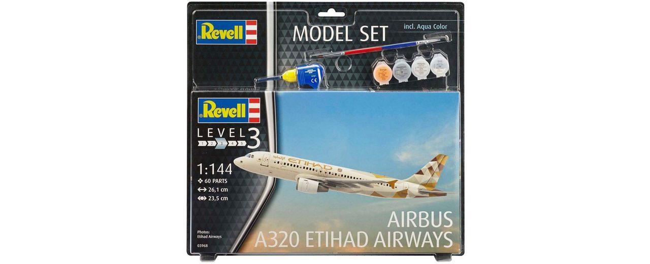 Revell Modellbausatz mit Zubehör Maßstab 1:144, »Model Set, Airbus A320 Etihad«