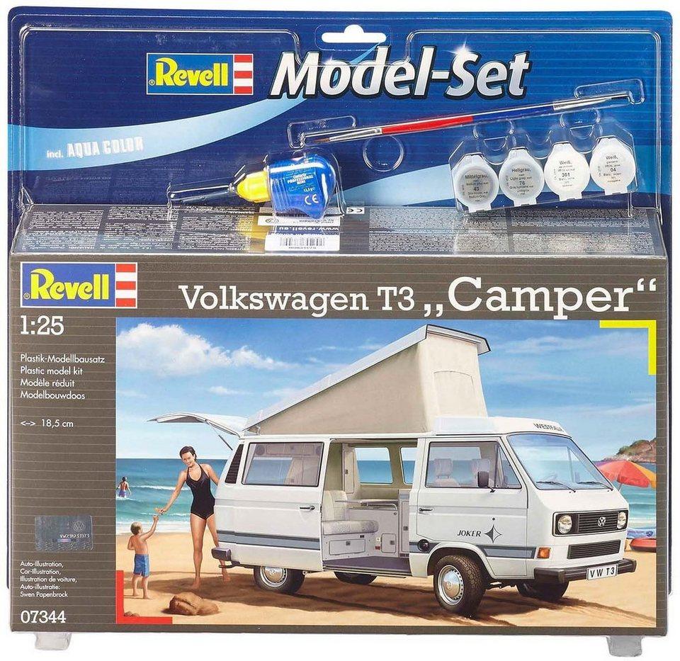 Revell Modellbausatz mit Zubehör, Maßstab 1:24, »Model Set, Volkswagen T3 Camper«