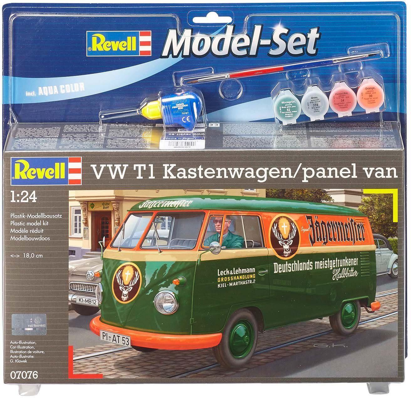 Revell Modellbausatz mit Zubehör, Maßstab 1:24, »Model Set, VW T1 Kastenwagen«