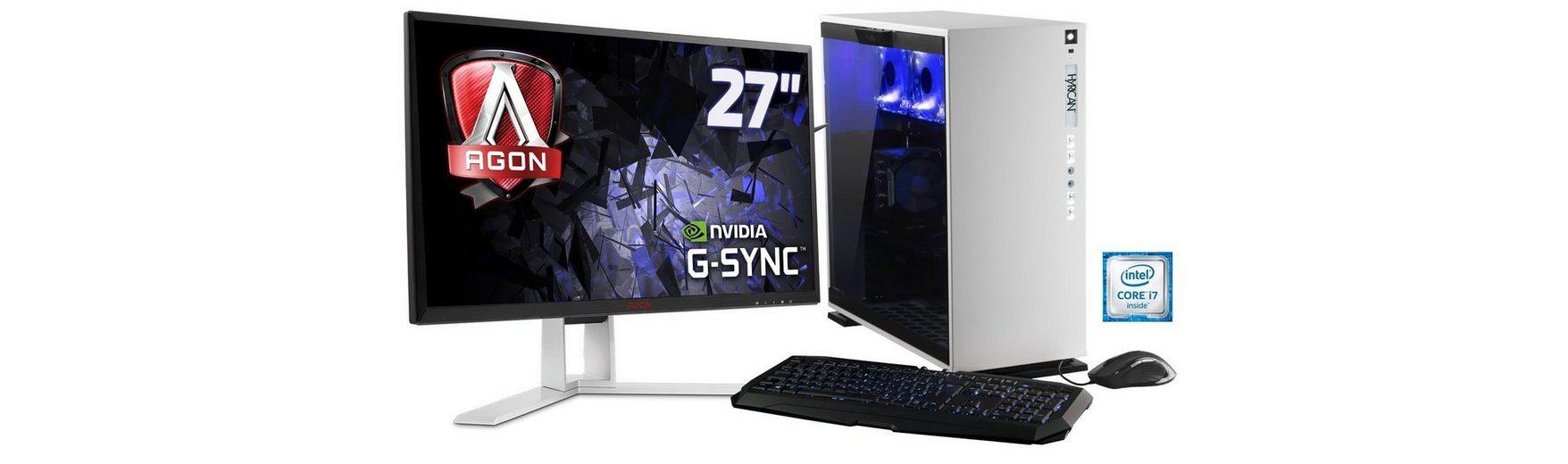 Hyrican Gaming PC Set, Intel® i7-6700K, GeForce® GTX1070 + Monitor »Elegance blanc SET01099«