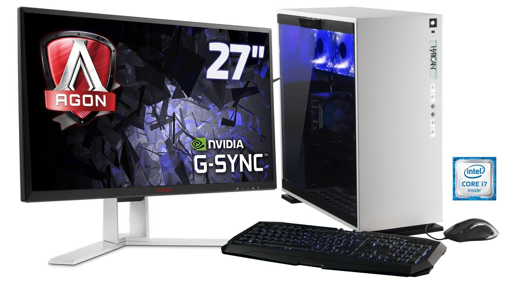 Hyrican Gaming PC Set Intel® i7-6700, GeForce® GTX 1070 + Monitor »Elegance blanc SET01101«