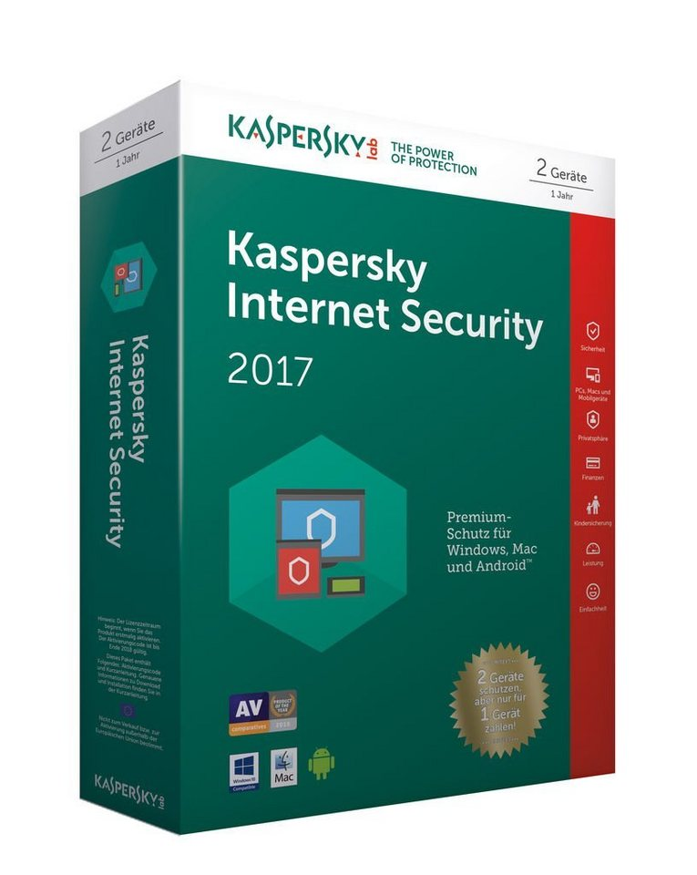 Kaspersky Software »Kaspersky Internet Security 2017 - 2 User Limited«