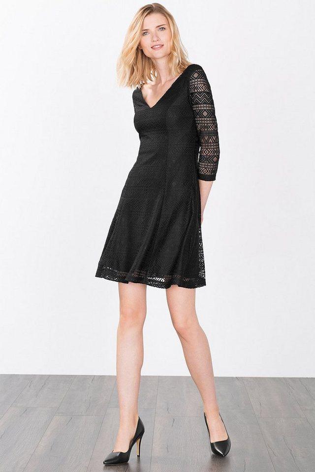 ESPRIT CASUAL Kleid aus Ikatmuster-Spitze in BLACK