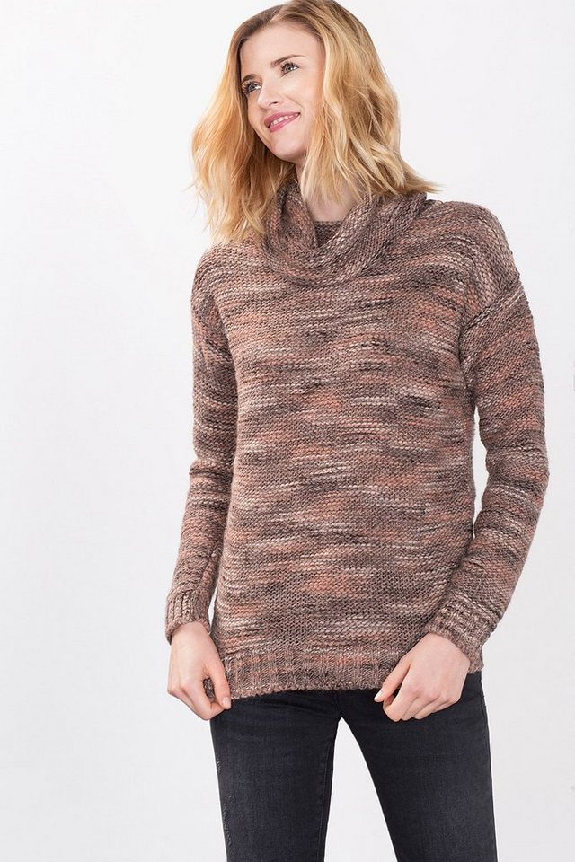 ESPRIT CASUAL Grobstrick-Rolli aus Mouliné-Garn in DARK OLD PINK