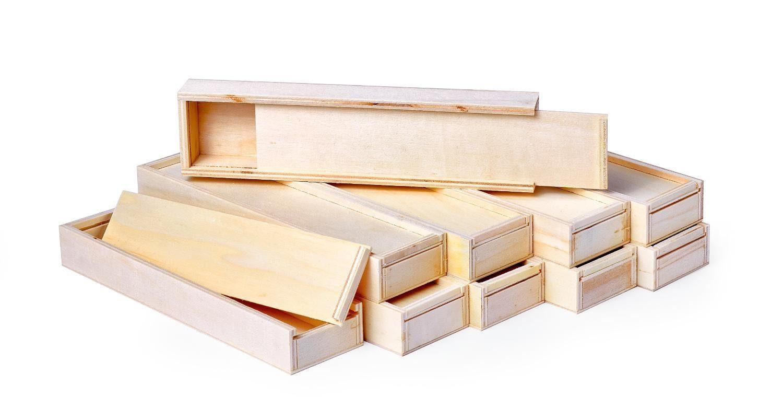 VBS Großhandelspackung 10 Holzboxen mit Schiebedeckel