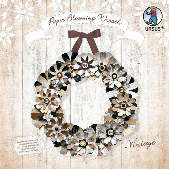 "Ursus Papier Basteln Set Papierkranz Paper Blooming Wreath ""Vintage"""