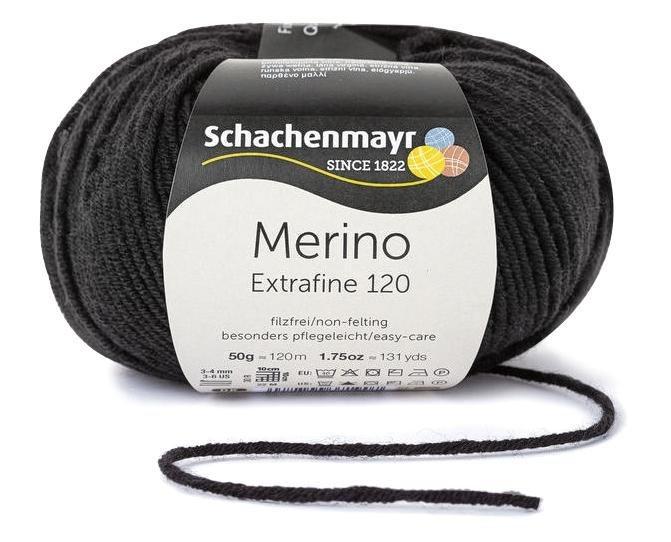 """Schachenmayr """"Merino Extrafine 120"""" in Schwarz"""