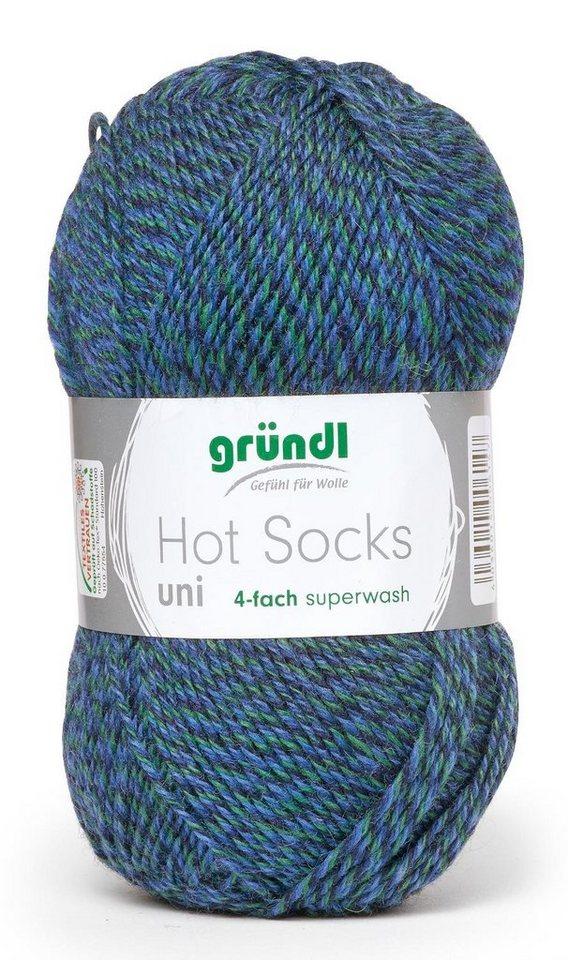 Hot Socks Uni 4-fach in Blau-Grün meliert