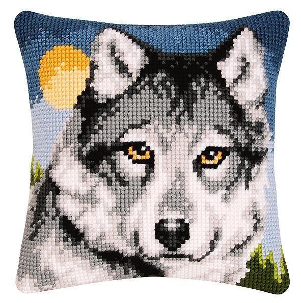 Stickpackung Kreuzstichkissen Wolf 40 x 40 cm