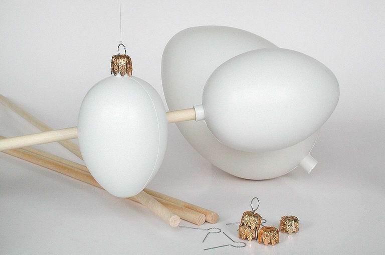 Kunststoff-Ei weiß, mit Stutzen